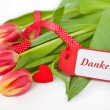 Pink Tulips with a Thank you - Card — Stock Photo #26093135