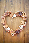 Heart-shape made out of Christmas Cookies and Nuts — Stock Photo