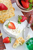 Bread, cheese and strawberries — Stock Photo