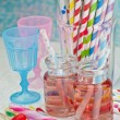 Cherry lemonade and party props — Stock Photo