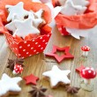 Christmas cookies in little red boxes — Stock Photo
