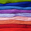 Foto Stock: Colorful yarns in rainbow colors