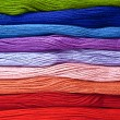 Stockfoto: Colorful yarns in rainbow colors