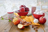 Ingredients for baking with fruit — Stock Photo