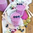 Milkshake with blueberries — Stock Photo