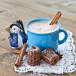 Stock Photo: Hot chocolate with little cakes