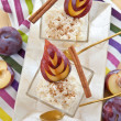 Stock Photo: Rice pudding with cinnamon and plums