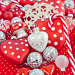 Christmas decoration in red and white — Stok fotoğraf