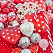 Christmas decoration in red and white — Stockfoto