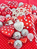 Christmas decoration in red and white — Stock Photo