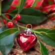 Christmas decorations and holly branches — Stock Photo