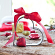Christmas decorations and a heart-shaped cookie cutter — Stock Photo