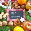 Happy Holidays with christmas cookies — Stock Photo