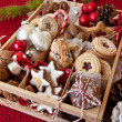 Little box with a variety of cookies and nuts — Lizenzfreies Foto