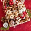 Little box with a variety of cookies and nuts — Foto Stock