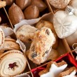 Various cookies and nuts — Stock Photo