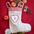 Vintage gift bag with nuts and apples — Stock Photo
