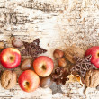 Background with nuts and apples — Stock Photo