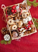 Little box with a variety of cookies and nuts — Stock Photo