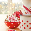 Hot chocolate and colorful decorated christmas cookies — Stock Photo