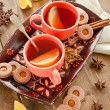 Hot beverage and christmas cookies — Stock Photo #36079531