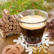 Stock Photo: Little coffee and christmas cookies