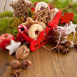Little sledge filled with christmas cookies — Stock Photo