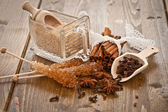 Various spices and sugar — Stock Photo