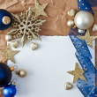 Christmas background with blue baubles — Stock Photo