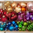 Little box with christmas baubles — Stock Photo #36514069