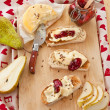 Roasted bread with camembert — Stock Photo