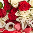 Stock Photo: White and red roses
