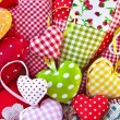 Colorful hearts made from different patterns — Stock Photo
