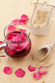 Syrup with rose petals — Stock Photo
