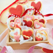 Stock Photo: Little box with colorful cookies