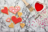 Colorful cookies on marble plate — Stock Photo