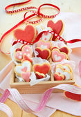 Little box with colorful cookies — Stock Photo