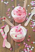 Frozen Yogurt with sugar hearts — Stok fotoğraf