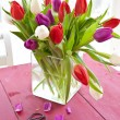 Stock Photo: Colorful tulips for easter