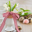Stock Photo: Fresh snowdrops in eggshell