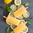 Fresh lemon popsicles — Stock Photo