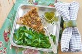 Quiche Lorraine and lamb's lettuce — Stock Photo