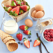 Ingredients for preparing ice cream — Stock Photo