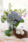Colorful bouquet in vintage zinc pot — Stock Photo