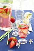 Homemade Lemonade with strawberries — Stock Photo