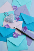 Multi colored envelopes and letters — Stock Photo