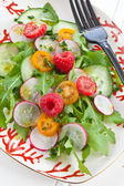 Fresh salad with tomatoes and cucumber — Stock Photo