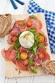 Mozzarella, smoked ham and fresh tomatoes — Photo