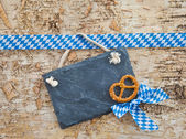 Rustic background with white and blue ribbon — Stock Photo