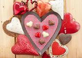 Chocolates in heart-shape — Stock Photo